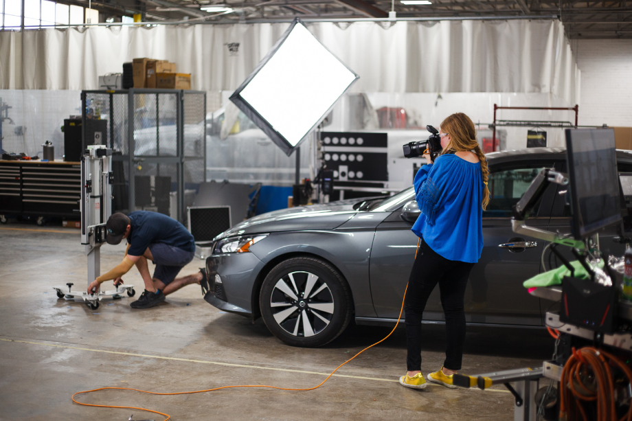 Behind the scenes of Abigail Bobo's shoot for Caliber Collision