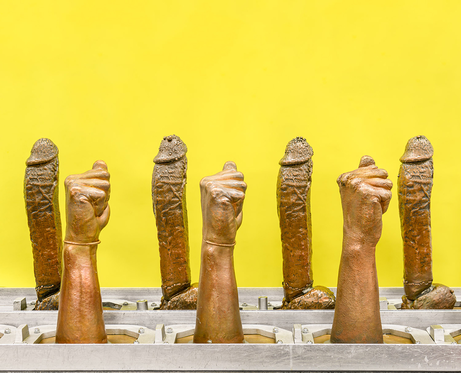 Molds for rubber dildos on the factory floor of Doc Johnson, where 450 employees produce 75,000 sex toys per week.