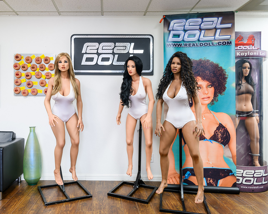Finished RealDolls on display in the foyer of the factory, San Marcos, California photography by Alastair Philip Wiper