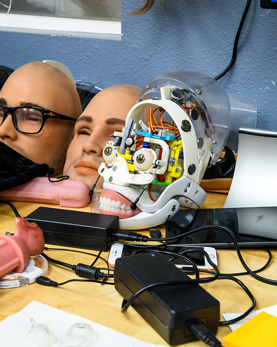 A robotic head at the RealDoll robot workshop in San Marcos, California photo by Alastair Philip Wiper