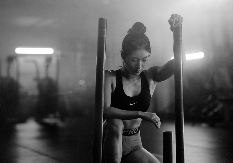 Carrie Xu looks pensive during her workout.