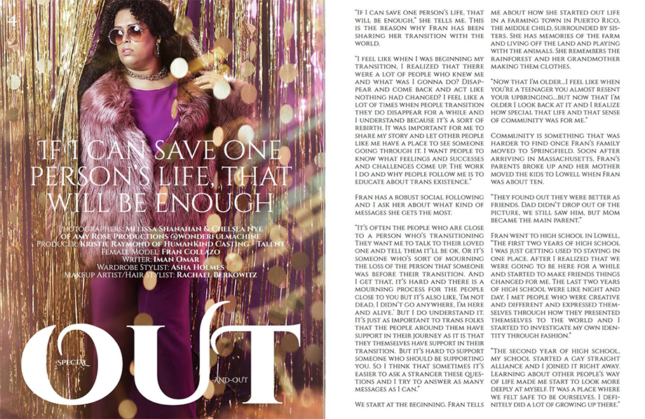 Fran Collazo featured on Out and Out Magazine by Amy Rose Productions