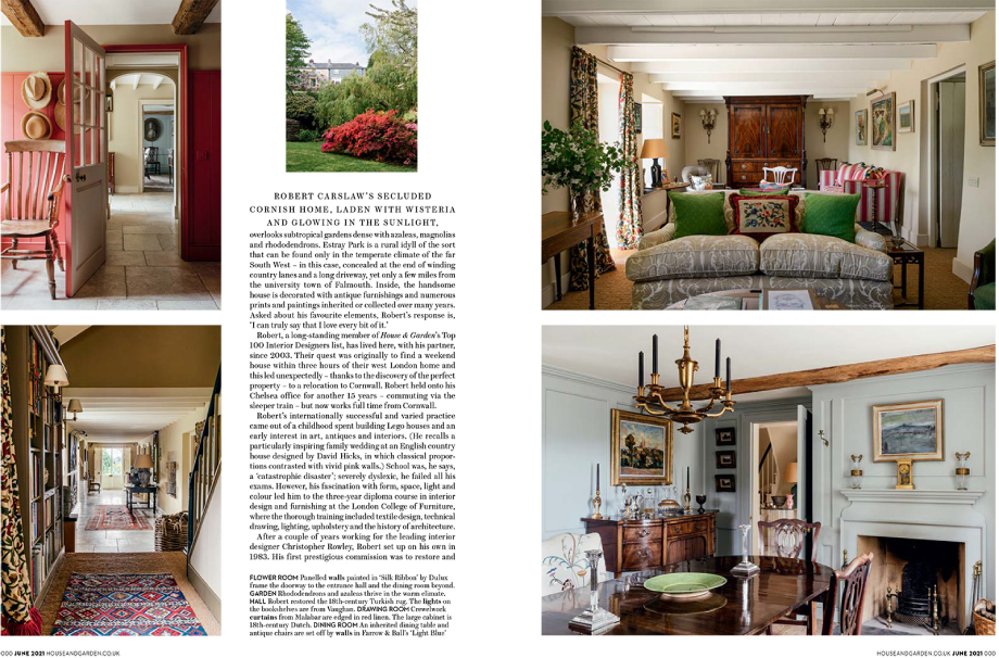 Tear sheet of Home & Garden magazine feature on Robert Carslaw's Cornwall home shot by Anya Rice