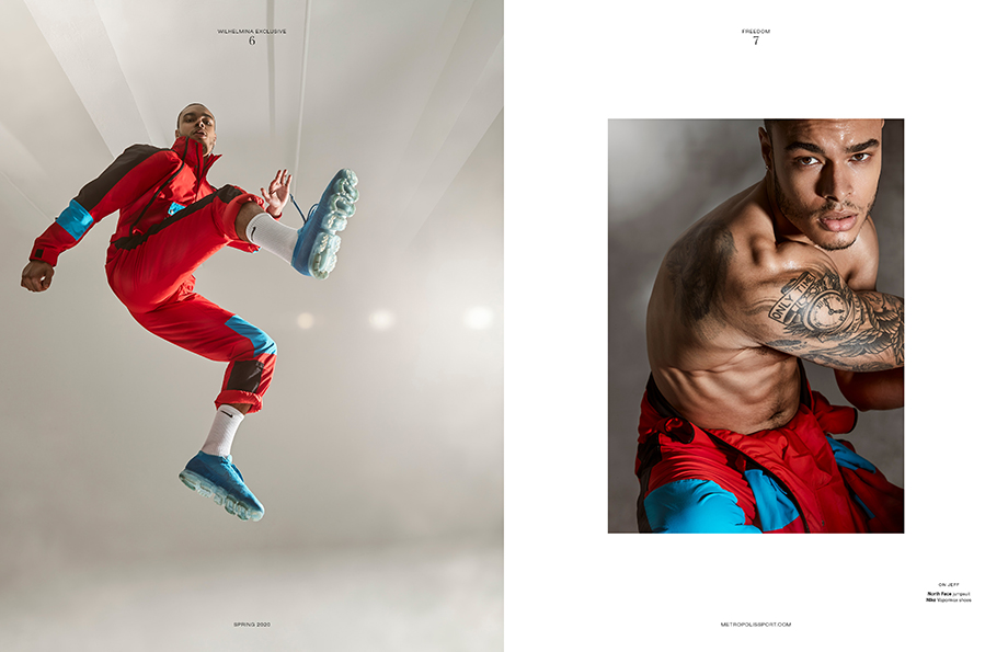 Tearsheet of Fitness model in movement photographed by Aydin Arjomand for Metropolis Sport.