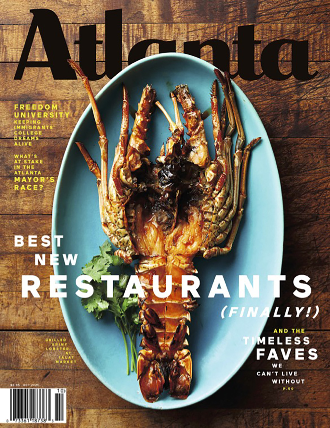 Atlanta magazine cover featuring Spiny lobster from Talat Market shot by Bailey Garrot