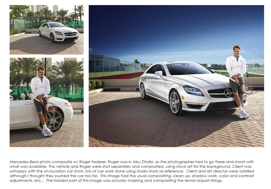 Both befores and after retouching of a tennis player with a mercedes by Ben Woolsey