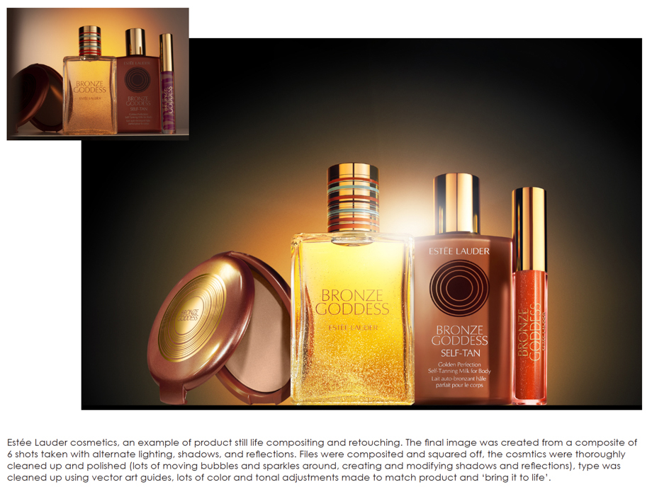 Ben Woolsey retouching for Estee Lauder cosmetics before and after