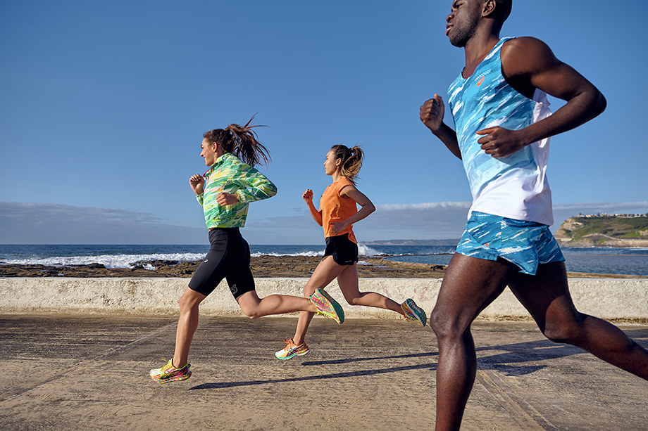 Brett Hemmings photographs three runners in action wearing ASICS Color Injection Sneakers.