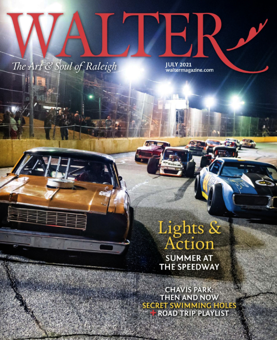 Tear sheet of Walter Magazine cover shot by Bryan Regan at the Wake County Speedway.