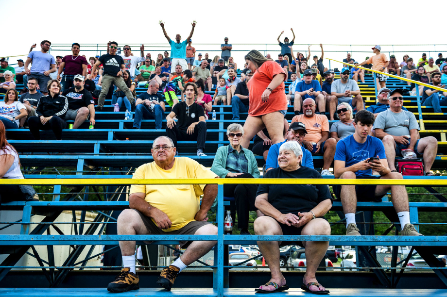 Crowds on the bleachers at Wake County Speedway shot by Bryan Regan for Walter Magazine