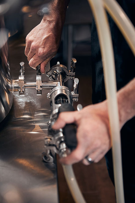 A close up image of Spike brewing equipment. Photographed by CJ Foeckler for Spike Brewing.
