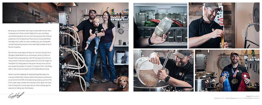 Spike Brewing Brand book featuring customer story. Photographed by CJ Foeckler for Spike Brewing.
