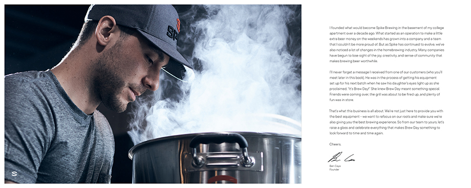 Spike Brewing founder Ben Caya pictured in the brand book. Photographed by CJ Foeckler for Spike Brewing.