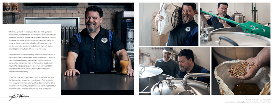 Customer story in the Spike Brewing brand book. Photographed by CJ Foeckler for Spike Brewing.