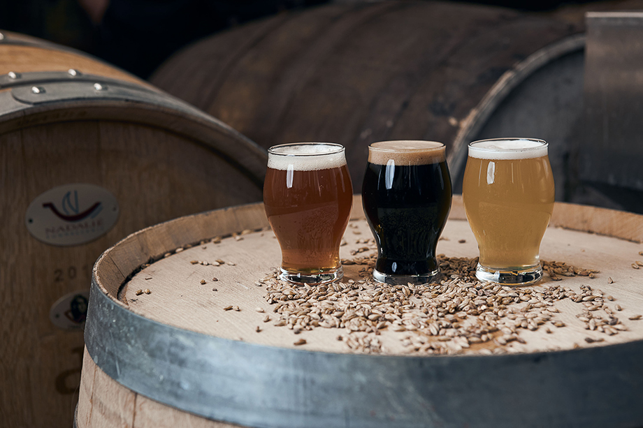 Beer flight photographed by CJ Foeckler for Spike Brewing.