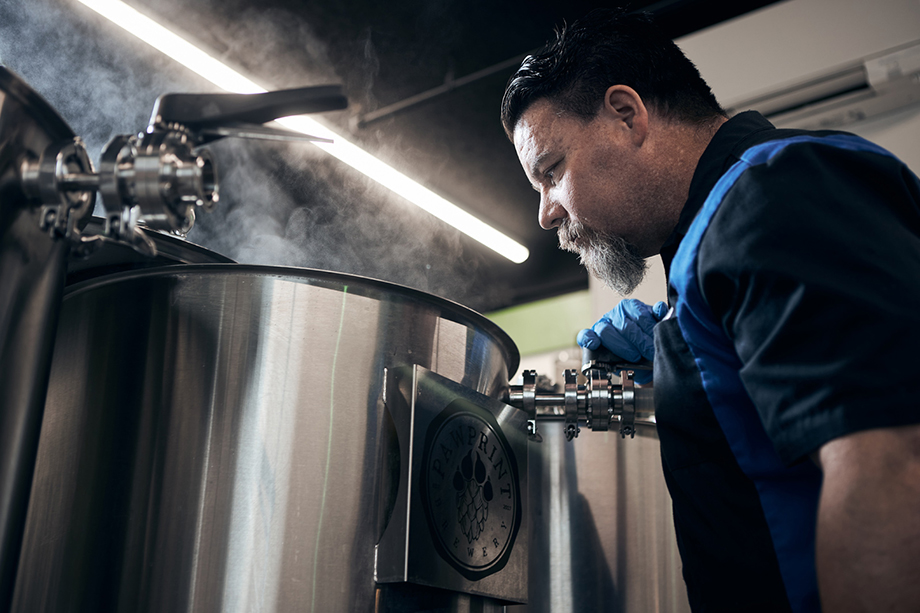 James K. brewing a batch of beer. Photographed by CJ Foeckler for Spike Brewing.