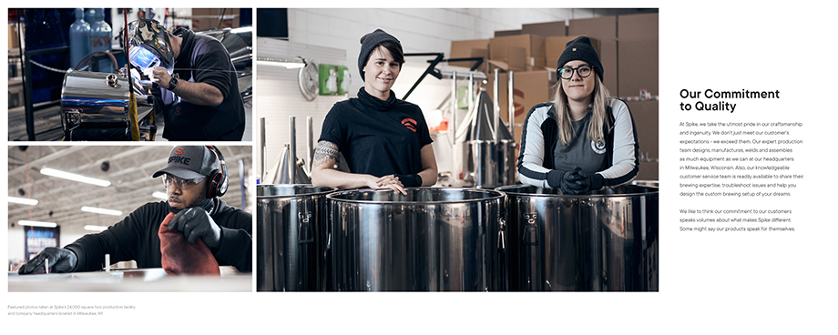 A page from Spike Brewing's brand book featuring employees.