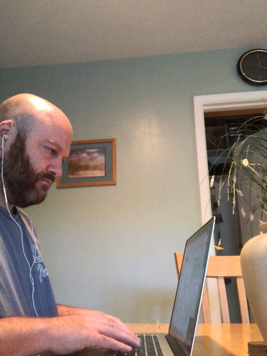 Our outreach team working from home featuring Chris Mont