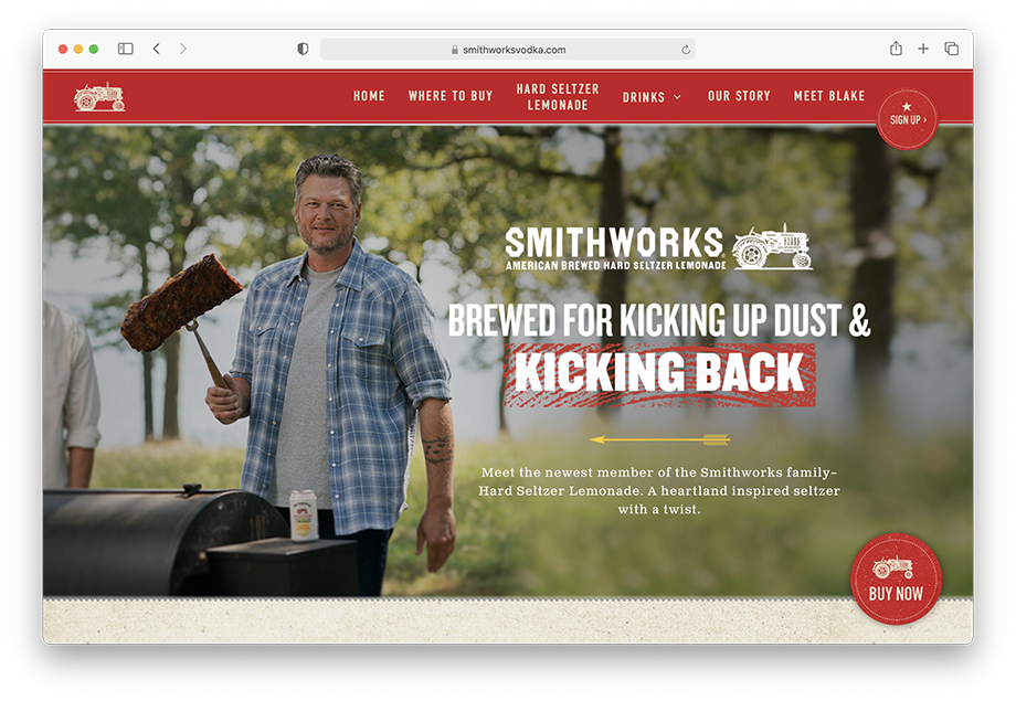 Blake Shelton grilling on the Smithworks Vodka website by Motofish