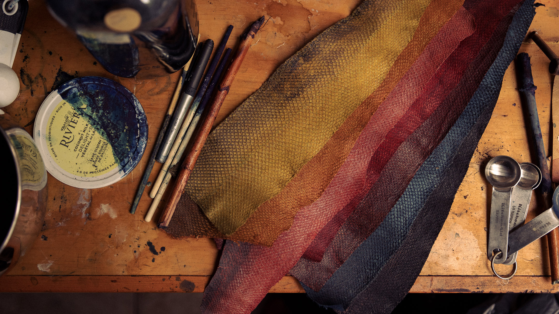 Worktable for fish leather craftswoman Janey shot by Christian Tisdale for Makers series