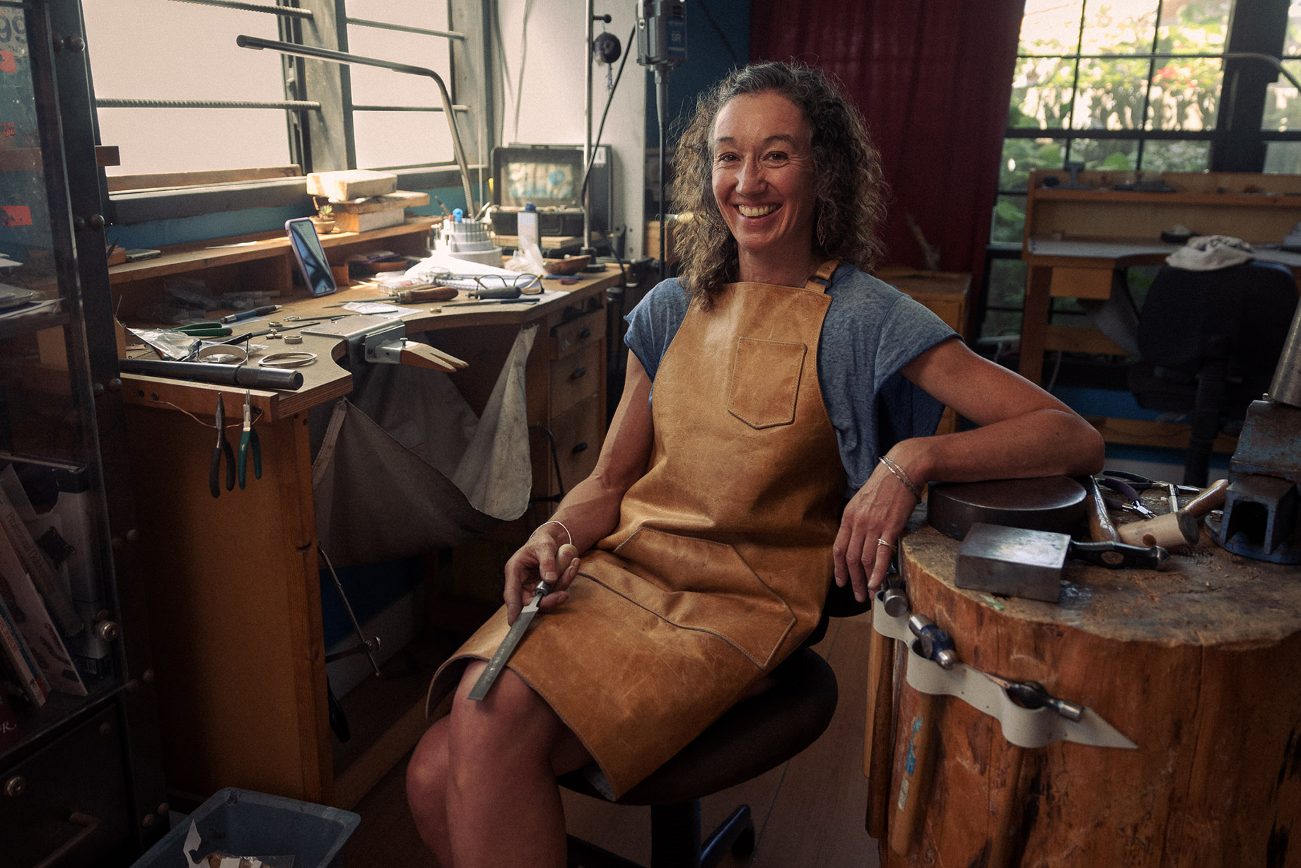 Jewelry maker in her workshop shot by Christian Tisdale for Makers series