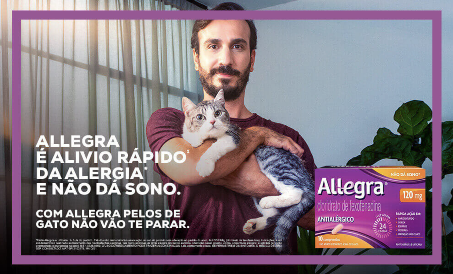 Tear sheet of man holding cat for Allegra campaign shot by Claus Lehmann
