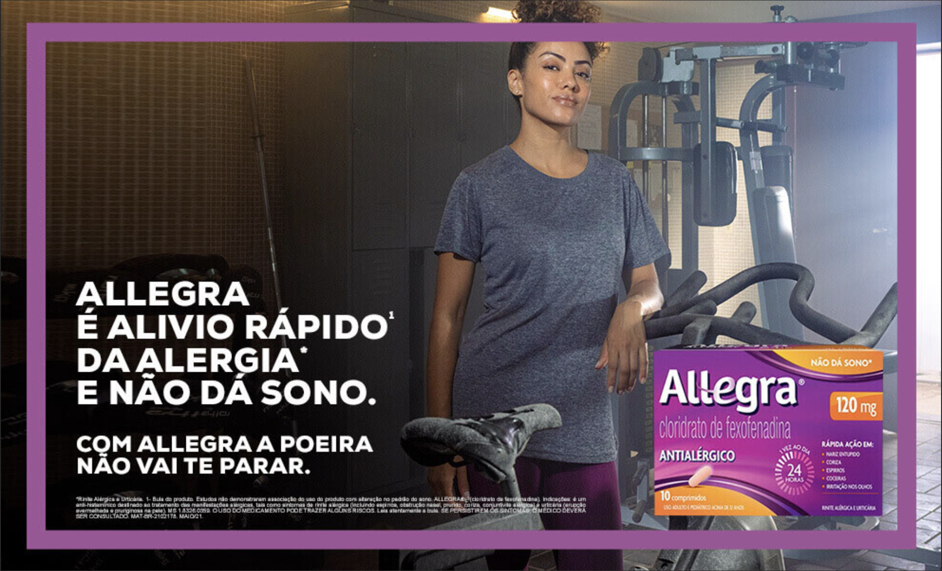Tear sheet of woman in gym shot by Claus Lehmann for Allegra campaign