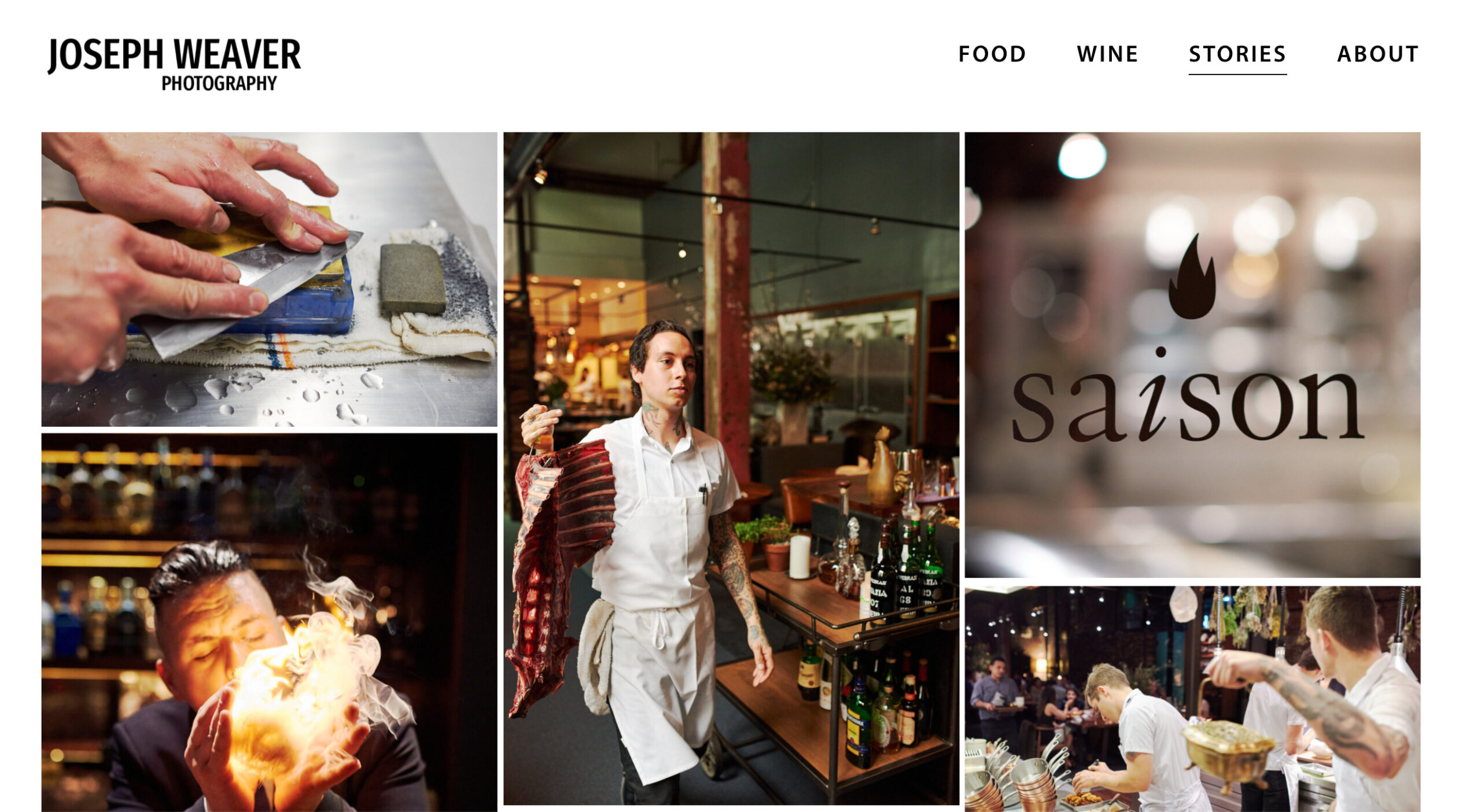 Joe's new website, which includes imagery for SF restaurant Saison
