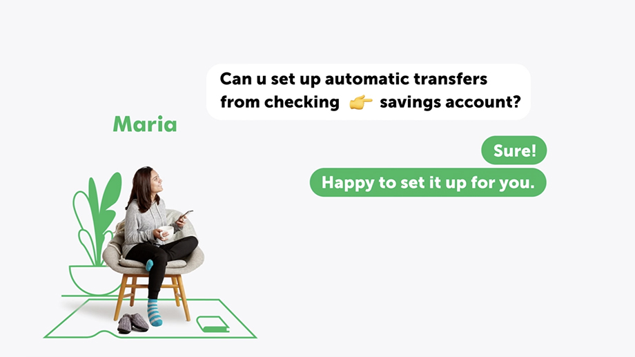 A screen capture WSFS Banking App capabilities as shown in video. Customer scenario photographed by Dave Moser and animated by REMADE.