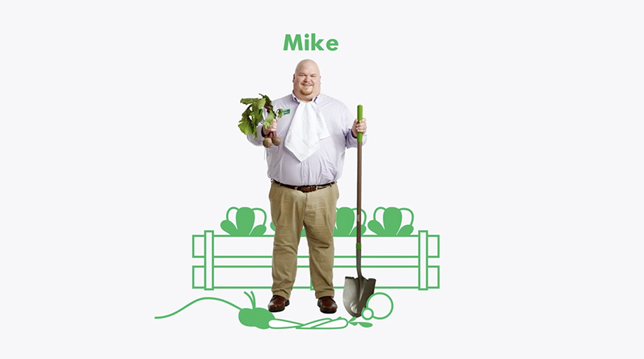 A photo illustration featuring Michael Muller, a WSFS Banker whose hobbies include veggie gardening. Photographed by Dave Moser.