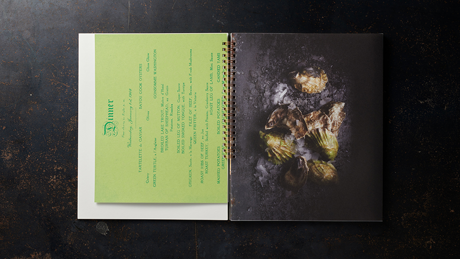 Dick Patricks booklet laid out with a classic New Orleans menu inside