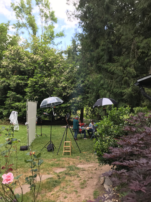 Behind the scenes shot of Dina Dina Ávila and crew at The Rustic Creekside Cabin for Eater