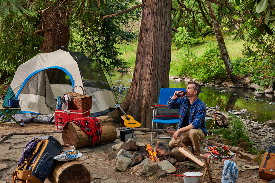 Staged campground shot by Dina Avila for Eater
