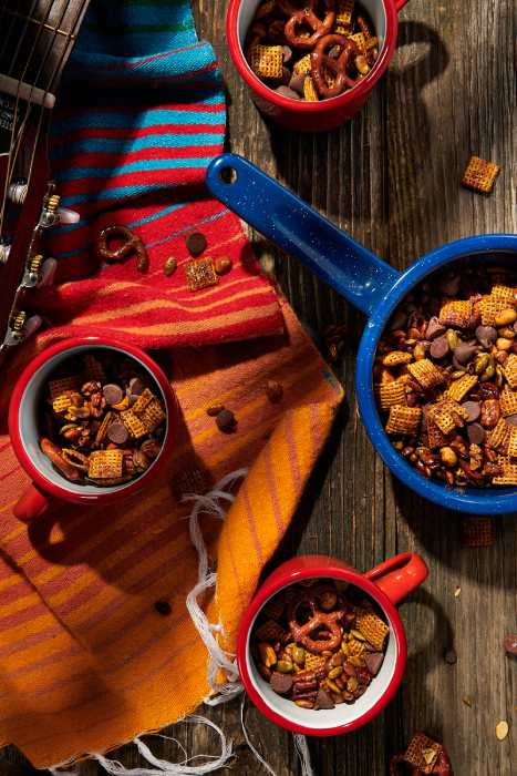 Trail mix in mugs shot by Dina Avila for Eater