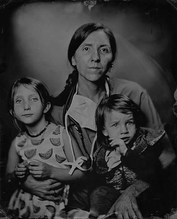 One of my three daughters (Mallory Martinez, MD) is the chief of anesthesiology at Lawrence (KS) Memorial Hospital. Here, sheís pictured in mid-September with her daughter Breckin, 6, left, and her son Camden, 2, right.  Wet plate collodion image by Earl RIchardson