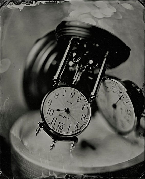 2020 was the year that time was turned upside down and backward. Because shooting provides a direct positive image, it was perfect for capturing these clocks I have in my home. Wet plate collodion image by Earl Richardson