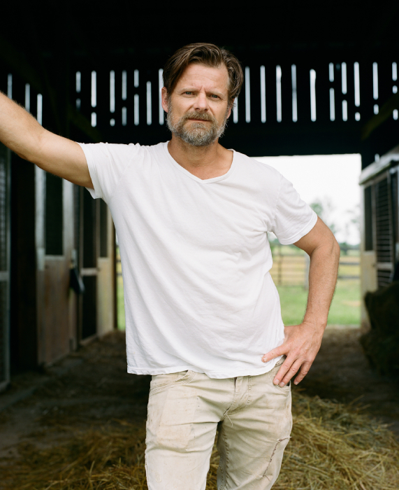 Portrait of Steve Zahn in his stables shot by Egan Parks for the Hollywood Reporter