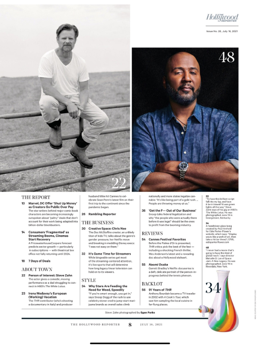 Tear sheet of table of contents for the Hollywood Reporter featuring film portrait of Steve Zahn shot by Egan Parks