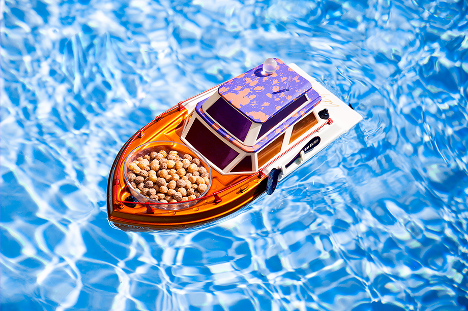 Lil Yatchy and Reese's Puffs' yatch in the pool. Photographed ny Emily Malan.