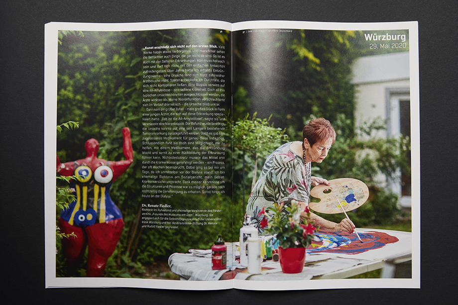 A spread in PFIZER's Zwei Magazin shows a woman painting. Photographed by Enno Kapitza.