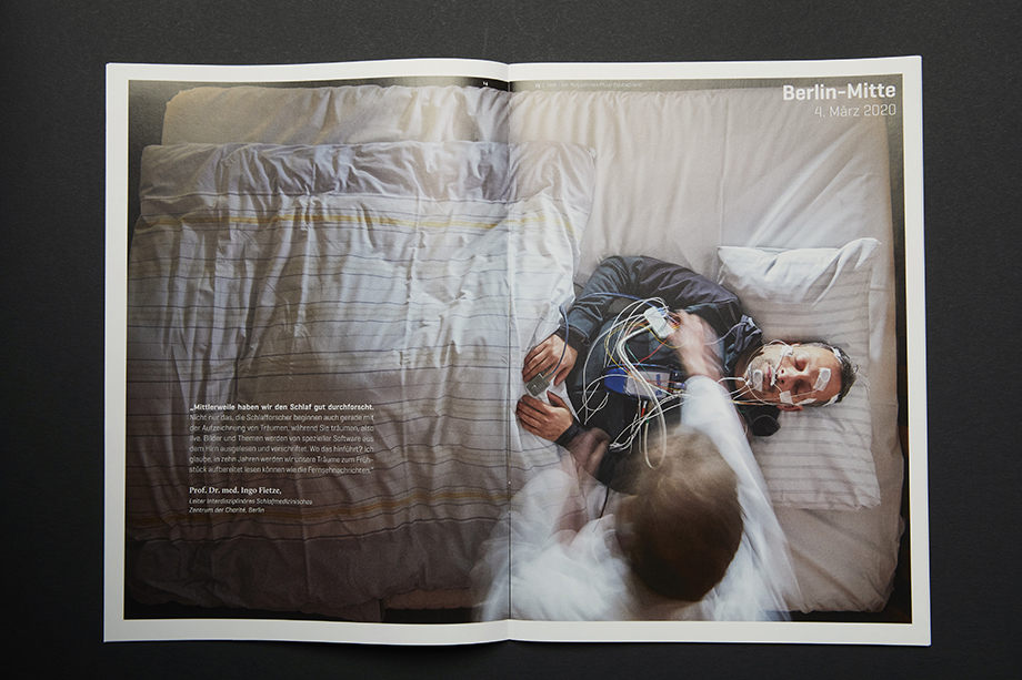 A spread in PFIZER's Zwei Magazin shows a man in a hospital bed. Photographed by Enno Kapitza