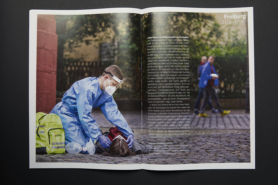 A spread in PFIZER's Zwei Magazin shows a first responder attending to an emergency. Photographed by Enno Kapitza