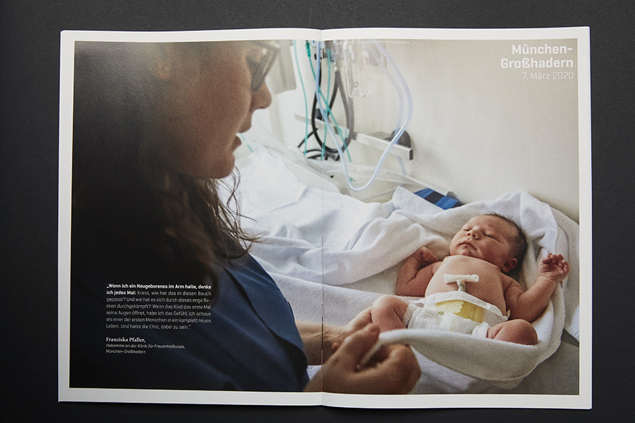 A newborn baby and nurse photographed by Enno Kapitza for PFIZER Germany.
