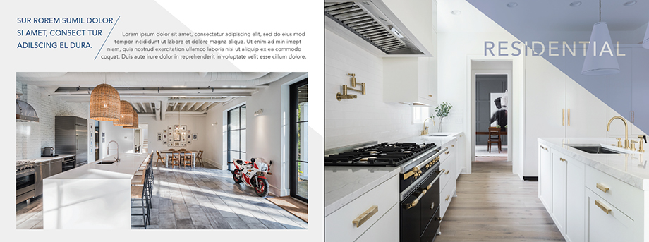 Lindsay Thompson's options for Eric Tate's new print promos featuring residential work