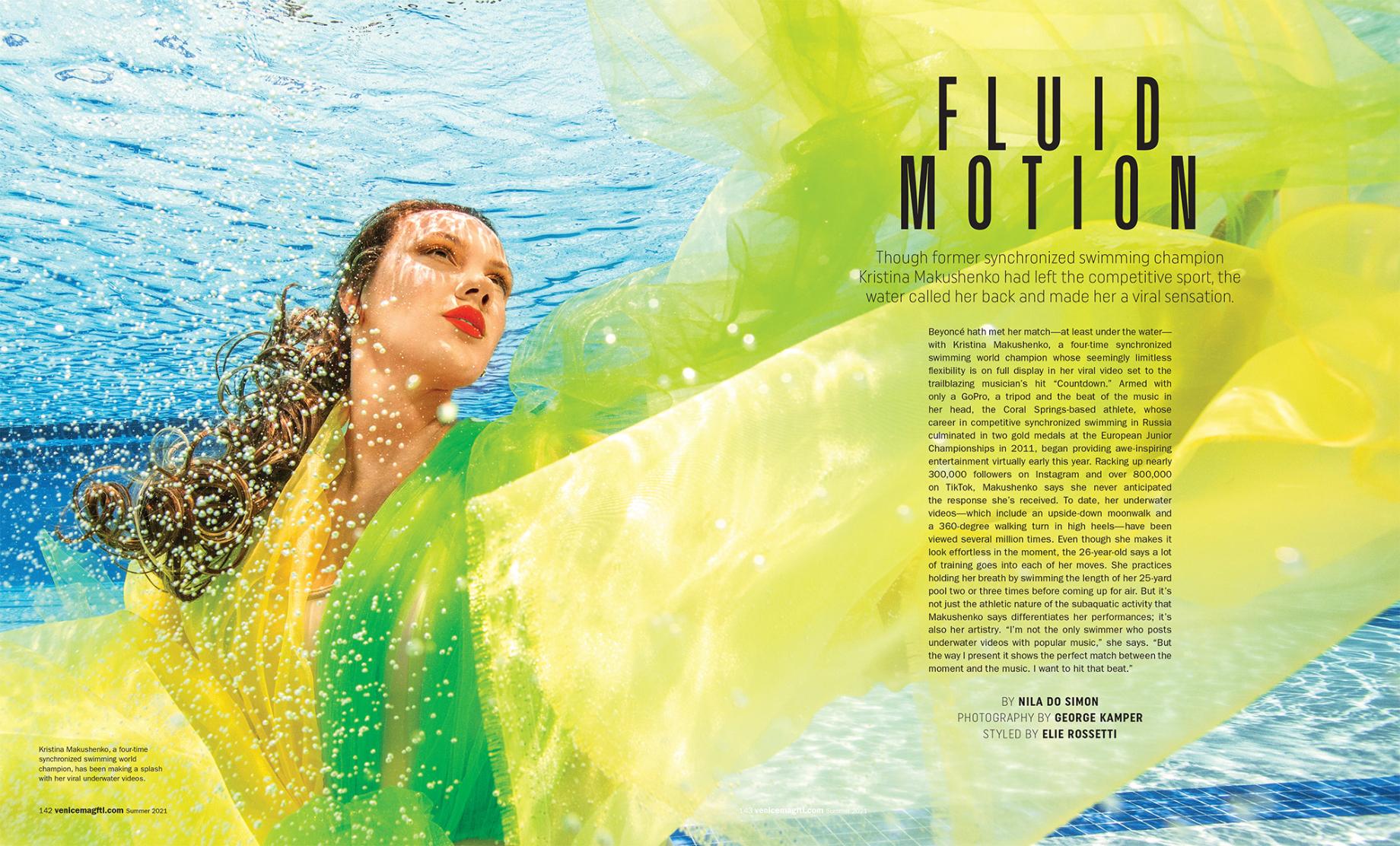 Tear sheet of Venice magazine feature on Kristina Makushenko shot by George Kamper