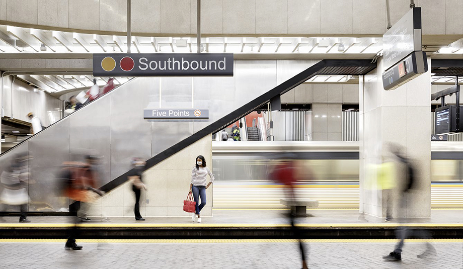 An image of the Southbound track at a MARTA rapid transit station. Photography by Gregory Miller