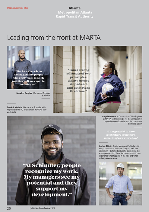 A look at the Schindler annual report featuring their employees with photography by Gregory Miller