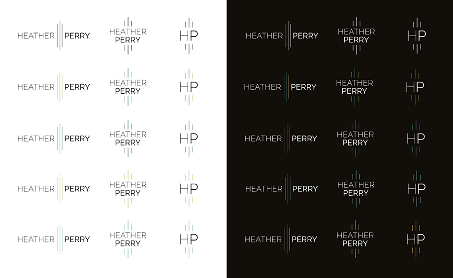 Final logo in all its iterations delivered to Heather Perry