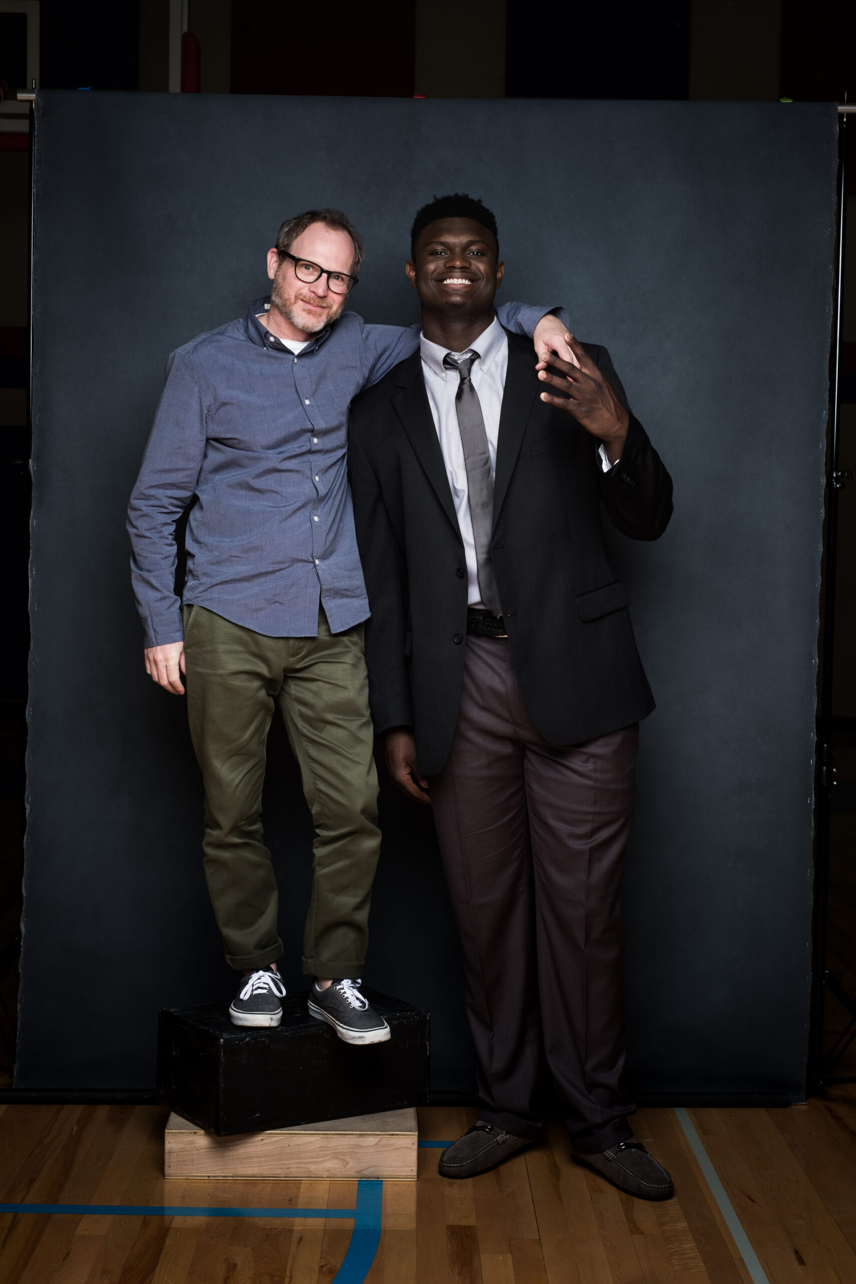 Ian Curcio behind the scenes with Zion Williams capturing a laughable height difference
