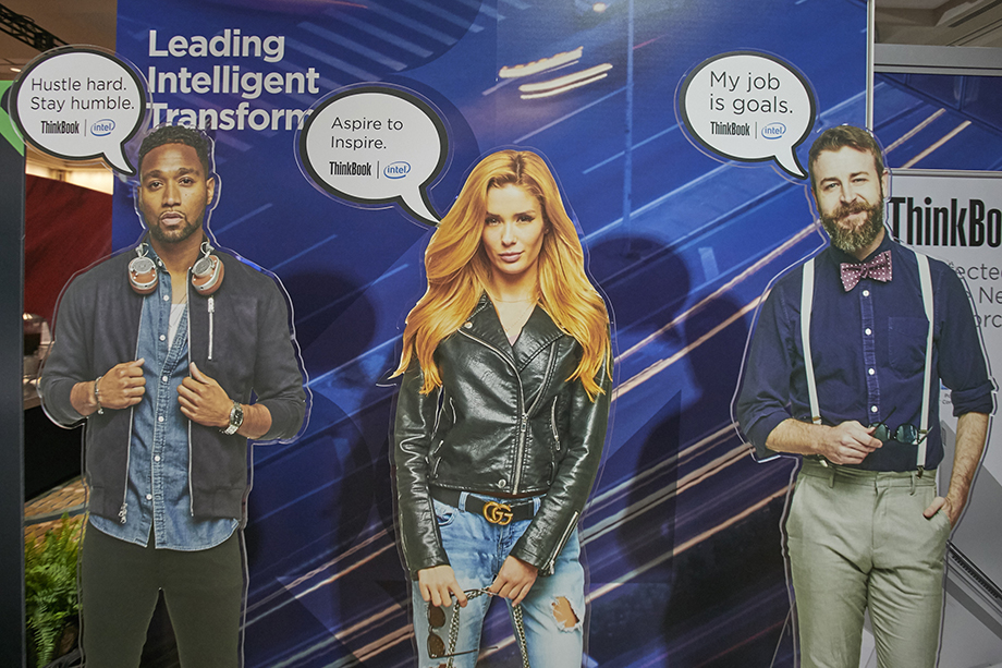 Printed cardboard cut outs of models. Photography by Ian Curcio for Lenovo.